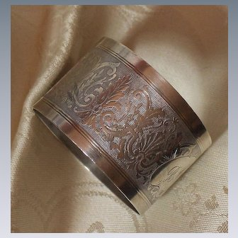 French Sterling Napkin Ring With Decorative Engine Turned Fleur de Lis Motif