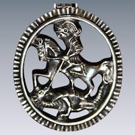 Sterling St. George and Dragon Medallion With Unique Relief Image from Austria