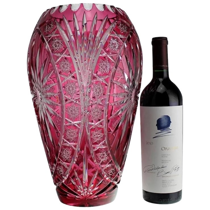 Huge 14 Bohemian Cranberry Overlay Cut To Clear Crystal Glass Vase