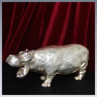 BIG Miniature English Sterling Silver Hippopotamus Figure Heavy Solid Silver Hippo From London