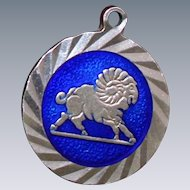 Gorgeous Aries Charm With Exceptional Design and Pretty Blue Enamel