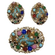 Jonne Schrager Faux Turquoise Filigree Brooch Pin Earrings Set