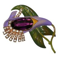 Reproduction Staret Enamel Rhinestone Floral Pin Brooch