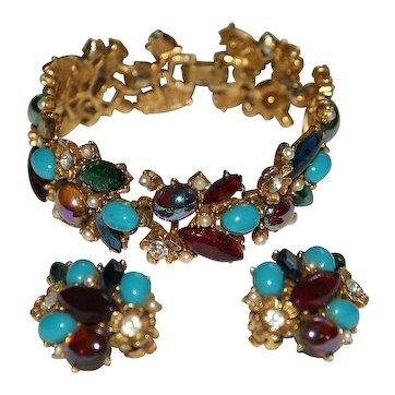 Art Signed Faux Turquoise Aurora Borealis Rhinestone Bracelet Earrings Set