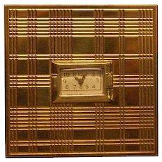 Evans Gold Tone Watch Powder Compact Bk Pc