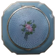 La Mode Blue Guilloche Enamel Rouge Powder Compact