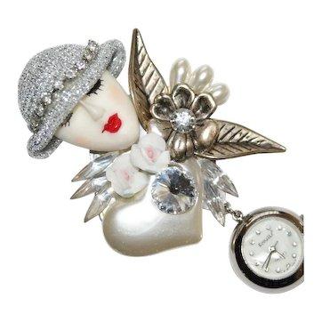 Bonetto Rhinestone Beaded Floral Lapel Watch Pin Brooch