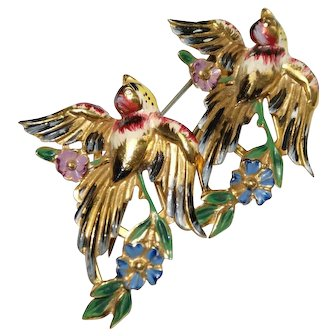 Coro Craft Sterling Enamel Flying Sparrow Birds Duette Pin 1940s Bk Pc
