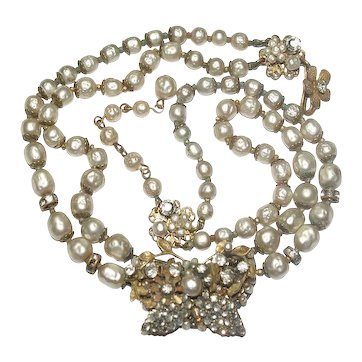 DeMario Baroque Pearl Filigree Butterfly Necklace