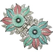 Rare Coro Turquoise Coral Colored Floral Rhinestone Duette Pin Brooch