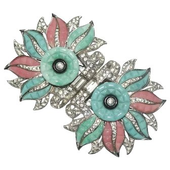 Rare Coro Turquoise Coral Colored Floral Rhinestone Duette Pin Brooch