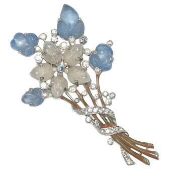 Trifari Blue Moonstone Fruit Salad Rhinestone Pin Clip