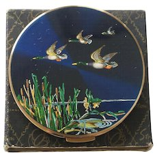 Unused Stratton Blue Flying Ducks Powder Compact Ad Pc Bk Pc