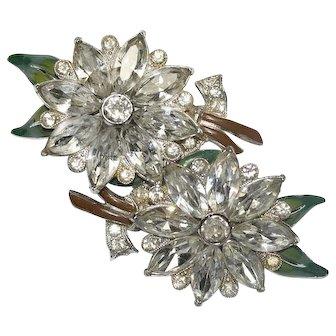 Coro Floral Enamel Rhinestone Duette Pin