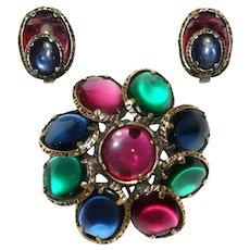 Trifari Glass Jewel Tones Renaissance Collection Pin Brooch Earrings Set