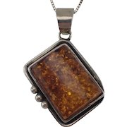 """Vintage Amber and Sterling Pendant with 15"""" Old Sterling Balestra Box Chain FREE SHIPPING"""