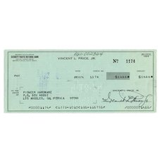 Vincent Price, Jr. (1911-1993) Signed Business Check Dated April 1974