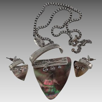 Unusual Vintage Abalone Shell Necklace and Pierced Earrings Set