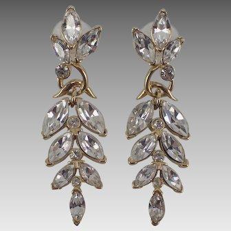 Vintage Trifari Kunio Matsumoto Wisteria Dangle Rhinestone Pierced Earrings