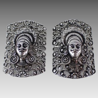 Vintage West Germany Silvertone Filigree Tribal Lady Clip Earrings