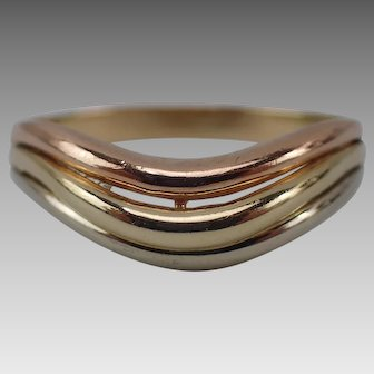 Very Nice 14K Tri-Color Solid Gold Band Ring Size 10.75 Unisex Style FREE SHIP