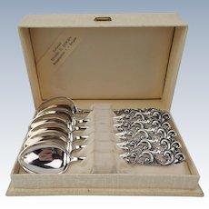 """SHIPS FREE Vintage Brodrene Mylius of Norway Set of 6 """"TELE"""" Demitasse .830 Silver Spoons in Original Box"""