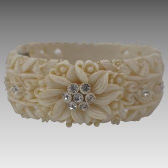 Vintage Very Ornate Dimensional Plastic Hinged Cuff Bracelet With Rhinestones