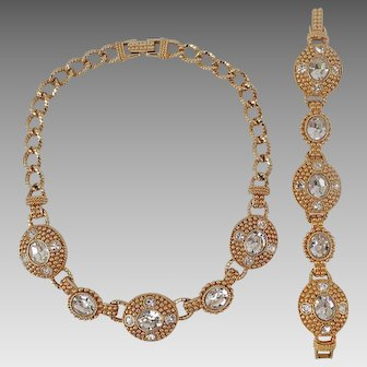 Razzle Dazzle! Swan Signed Vintage Swarovski Bold Rhinestone Necklace and Bracelet Set