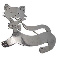 Vintage Whimsical Sterling Cat Brooch 10.4 Grams