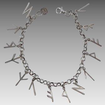 Robert Lee Morris RLM Hard To Find Vintage Sterling Mystical Runes Charm Bracelet 14.5 Grams
