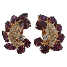 Beautiful Signed WEISS Clip Earrings Purple and Clear Rhinestones