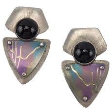 Pretty 925 Sterling Vintage Handmade Pierced Earrings Onyx, Susan Mavis 1989