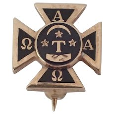 Alpha Tau Omega Pin Badge - 10k Yellow Gold Enamel Fraternity Cross Pin Greek