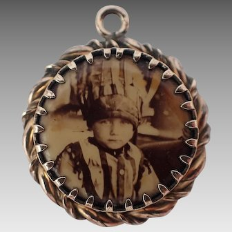 Rare One Of A Kind Antique Photo of Child Pendant Rose Gold Filled