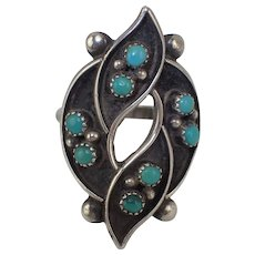 Sterling Silver Signed Zuni Green Turquoise Vintage Ring Size 7.25