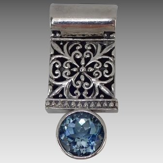 Fancifully Flourished Sterling Silver 925 Slide Pendant With Large Topaz