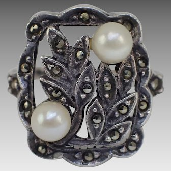 Charming Vintage Sterling Ladies Ring With Marcasites and Real Pearls