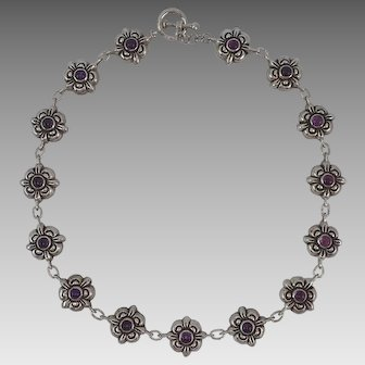 "Vintage Stylish Mexico 17.5"" Sterling Silver Necklace With Amethyst Stones 52.7 Grams"