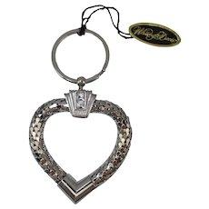 Wonderful Signed Whiting Davis Mesh and Rhinestones Key Chain With Tag