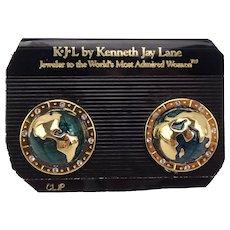 KJL Kenneth Jay Lane World Peace Globe Clip Earrings 1980's On Card