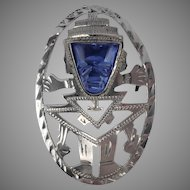 Vintage Sterling and Blue Stone Face Aztec Mayan Pin Pendant