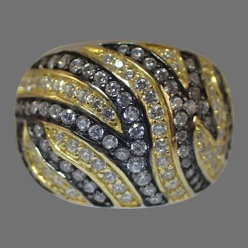 Glamorous 925 Sterling Dome Ring With Many CZ Stones Size 9 1/4