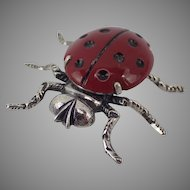 Adorable Beau Sterling 925 Lady Bug Pin Brooch