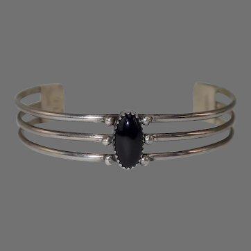 Vintage Sterling & Onyx Signed LG Navajo Cuff Bracelet