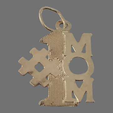 14K Yellow Gold #1 MOM Small Pendant or Charm