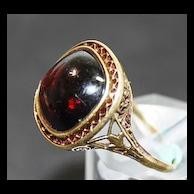 Garnet Cabochon Filigree Ring