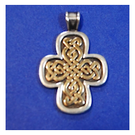 James Avery Sterling and 14K Celtic Style Cross