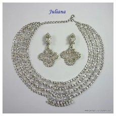 Juliana Filigree and Rhinestone Collar and Earring Set