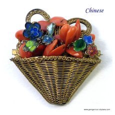 Chinese Coral and Enamel Flower Basket Brooch