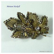 Miriam Haskell Rhinestone Leaf Brooch